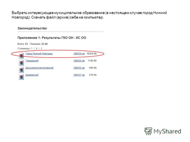 Выбрать интересующее муниципальное образование (в настоящем случае город Нижний Новгород). Скачать файл (архив) себе на компьютер.