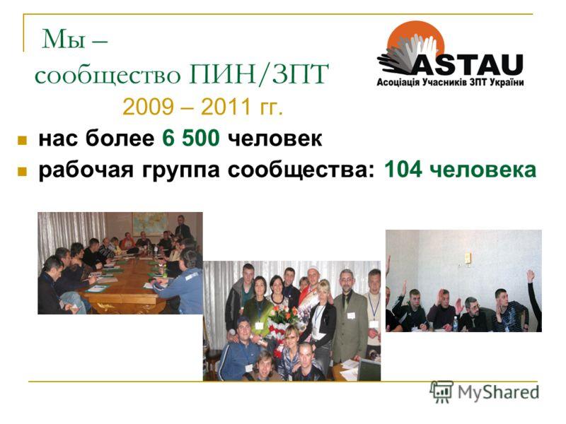 Мы – сообщество ПИН/ЗПТ 2009 – 2011 гг. нас более 6 500 человек рабочая группа сообщества: 104 человека