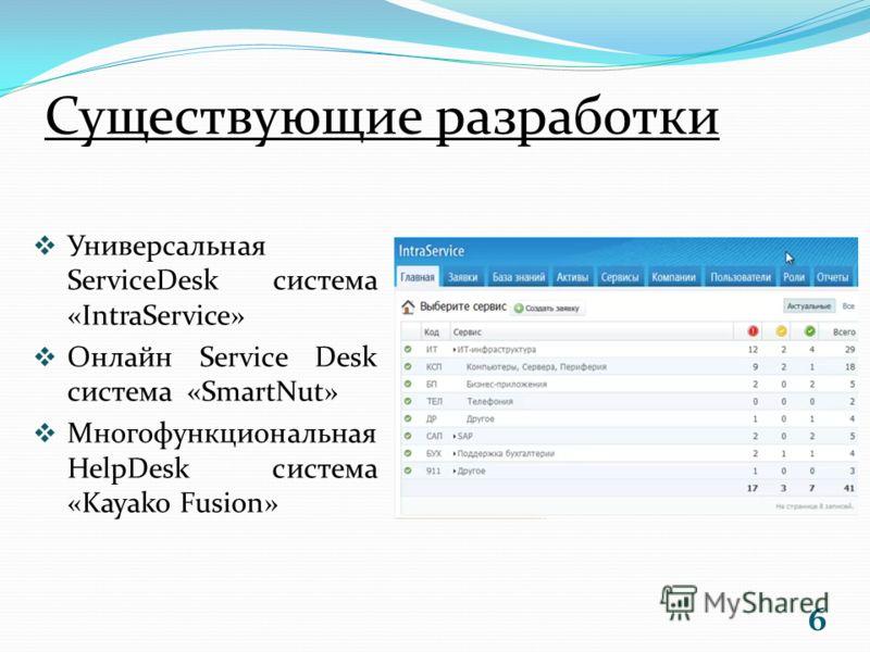 Существующие разработки Универсальная ServiceDesk система «IntraService» Онлайн Service Desk система «SmartNut» Многофункциональная HelpDesk система «Kayako Fusion» 6