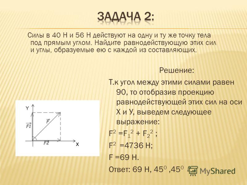 Силы в 40 Н и 56 Н действуют на одну и ту же точку тела под прямым углом. Найдите равнодействующую этих сил и углы, образуемые ею с каждой из составляющих. Решение: Т.к угол между этими силами равен 90, то отобразив проекцию равнодействующей этих сил