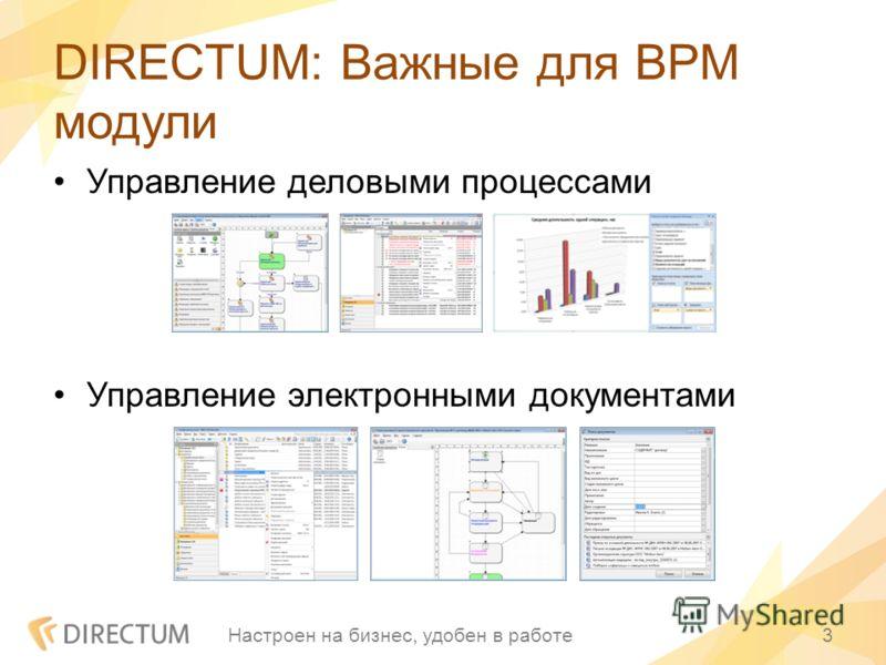DIRECTUM: Важные для BPM модули Управление деловыми процессами Управление электронными документами Настроен на бизнес, удобен в работе3