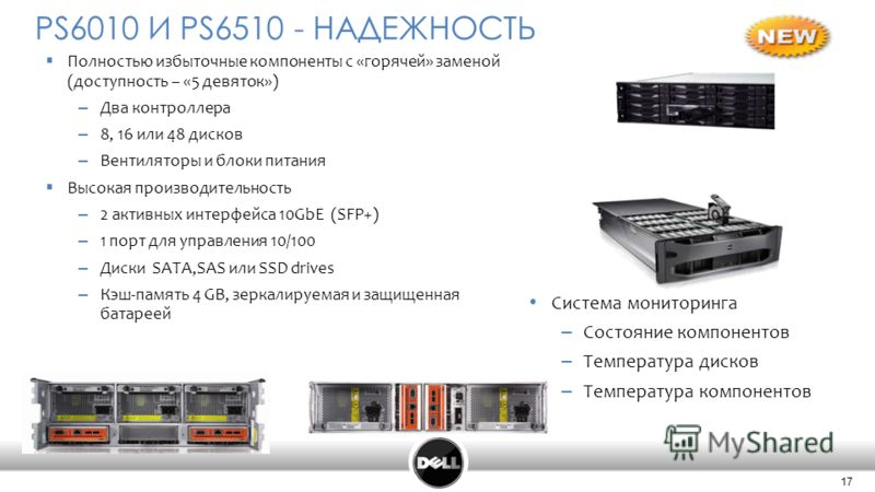 17 Confidential 17 Полностью избыточные компоненты с «горячей» заменой (доступность – «5 девяток») – Два контроллера – 8, 16 или 48 дисков – Вентиляторы и блоки питания Высокая производительность – 2 активных интерфейса 10GbE (SFP+) – 1 порт для упра