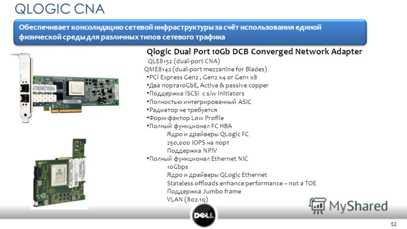 52 QLOGIC CNA Qlogic Dual Port 10Gb DCB Converged Network Adapter QLE8152 (dual-port CNA) QME8142 (dual-port mezzanine for Blades) PCI Express Gen2, Gen2 x4 or Gen1 x8 Два порта10GbE, Active & passive copper Поддержка iSCSI с s/w initiators Полностью