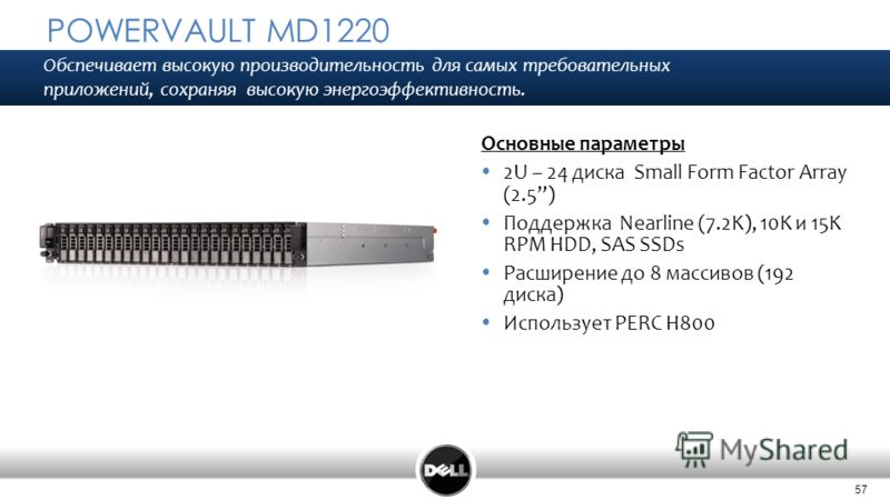 57 POWERVAULT MD1220 Основные параметры 2U – 24 диска Small Form Factor Array (2.5) Поддержка Nearline (7.2K), 10K и 15K RPM HDD, SAS SSDs Расширение до 8 массивов (192 диска) Использует PERC H800 Обспечивает высокую производительность для самых треб