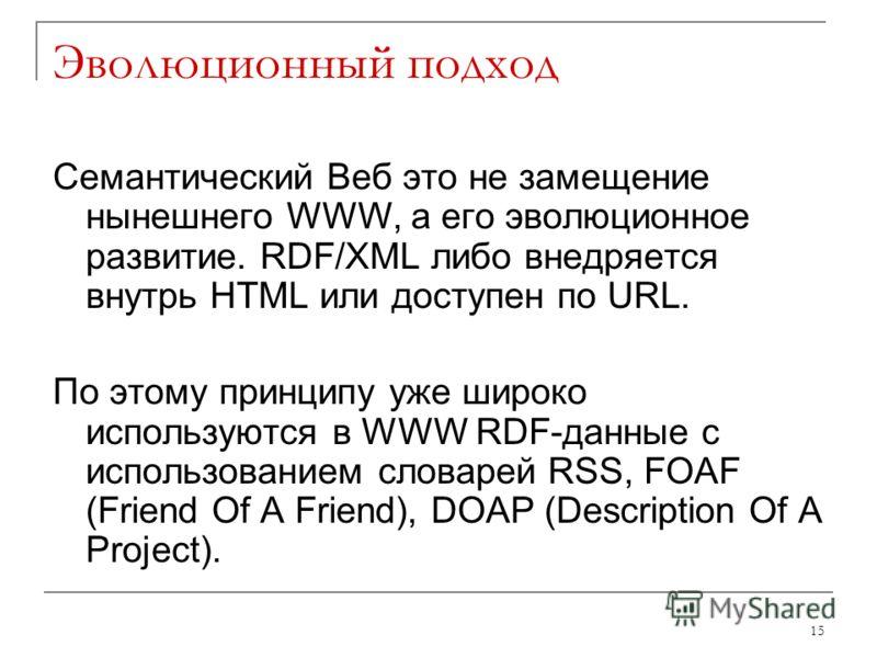 Эволюционный подход Семантический Веб это не замещение нынешнего WWW, а его эволюционное развитие. RDF/XML либо внедряется внутрь HTML или доступен по URL. По этому принципу уже широко используются в WWW RDF-данные с использованием словарей RSS, FOAF