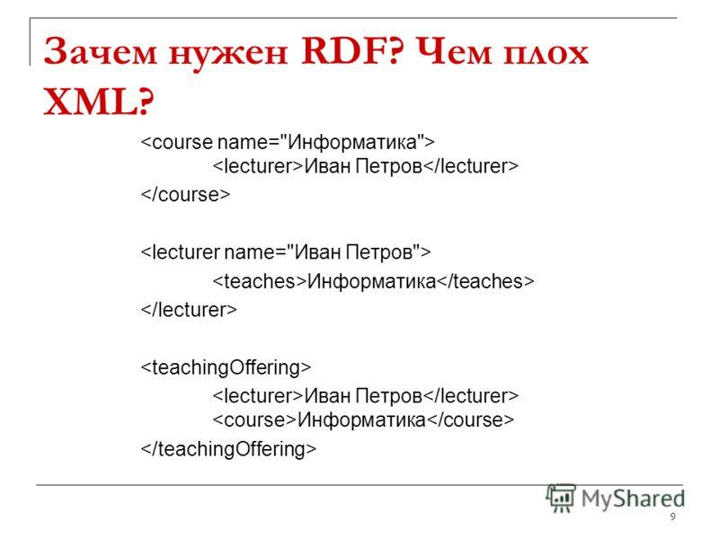 Зачем нужен RDF? Чем плох XML? Иван Петров Информатика Иван Петров Информатика 9