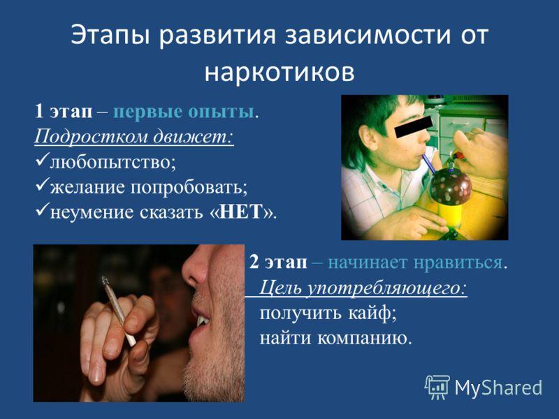 Этапы развития зависимости от наркотиков 1 этап – первые опыты. Подростком движет: любопытство; желание попробовать; неумение сказать «НЕТ». 2 этап – начинает нравиться. Цель употребляющего: получить кайф; найти компанию.