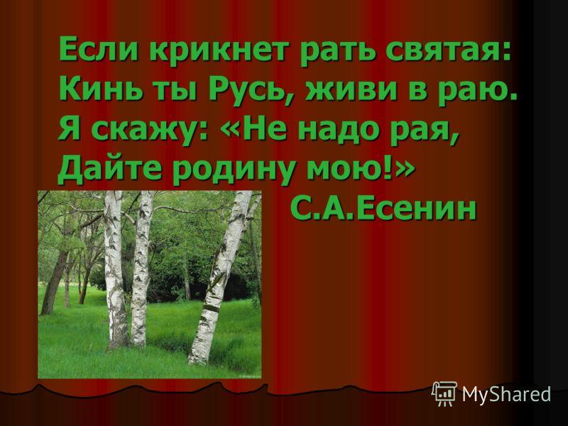 Если крикнет рать святая: Кинь ты Русь, живи в раю. Я скажу: «Не надо рая, Дайте родину мою!» С.А.Есенин