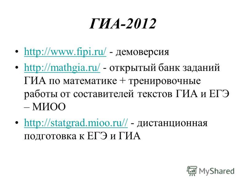 ГИА-2012 http://www.fipi.ru/ - демоверсияhttp://www.fipi.ru/ http://mathgia.ru/ - открытый банк заданий ГИА по математике + тренировочные работы от составителей текстов ГИА и ЕГЭ – МИООhttp://mathgia.ru/ http://statgrad.mioo.ru// - дистанционная подг