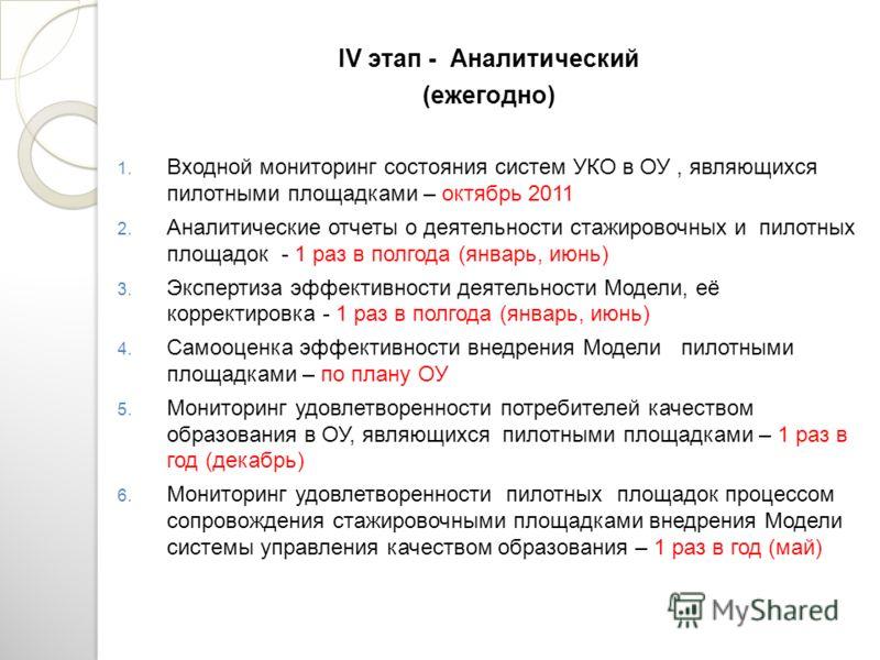 IV этап - Аналитический (ежегодно) 1. Входной мониторинг состояния систем УКО в ОУ, являющихся пилотными площадками – октябрь 2011 2. Аналитические отчеты о деятельности стажировочных и пилотных площадок - 1 раз в полгода (январь, июнь) 3. Экспертиза