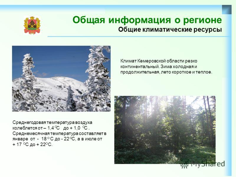 Общая информация о регионе Общие климатические ресурсы Климат Кемеровской области резко континентальный. Зима холодная и продолжительная, лето короткое и теплое. Среднегодовая температура воздуха колеблется от – 1,4 С до + 1,0 С. Среднемесячная темпе