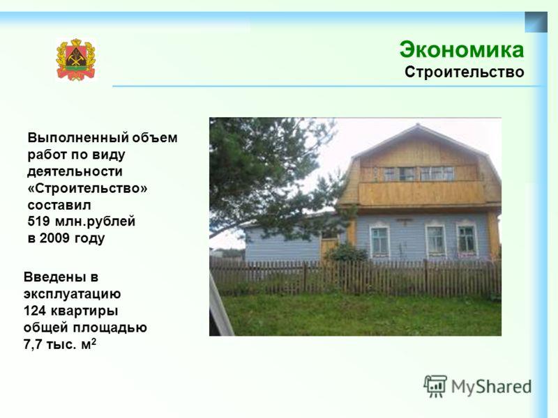 Экономика Строительство Выполненный объем работ по виду деятельности «Строительство» составил 519 млн.рублей в 2009 году Введены в эксплуатацию 124 квартиры общей площадью 7,7 тыс. м 2