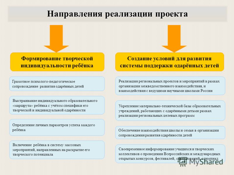 Реализация региональных проектов и мероприятий в рамках организации межведомственного взаимодействия, и взаимодействия с ведущими научными школами России Укрепление материально-технической базы образовательных учреждений, работающих с одарёнными деть