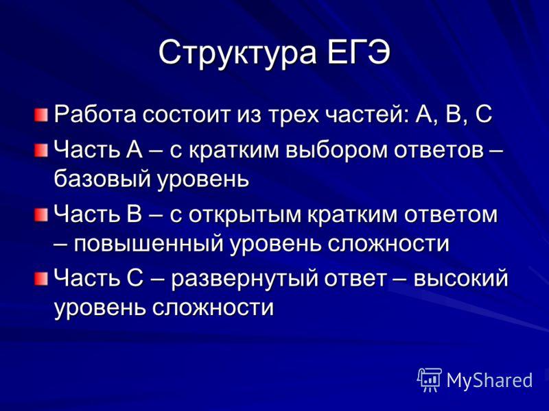 Структура ЕГЭ Работа состоит из трех частей: А, В, С Часть А – с кратким выбором ответов – базовый уровень Часть В – с открытым кратким ответом – повышенный уровень сложности Часть С – развернутый ответ – высокий уровень сложности
