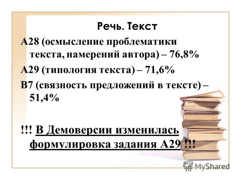 Речь. Текст А28 (осмысление проблематики текста, намерений автора) – 76,8% А29 (типология текста) – 71,6% В7 (связность предложений в тексте) – 51,4% !!! В Демоверсии изменилась формулировка задания А29 !!!