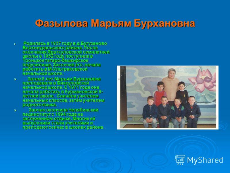 Фазылова Марьям Бурхановна Родилась в 1937 году в д.Бугузаново Верхнеуральского района. После окончания Яраткуловской семилетней школы в 1952 году поступила в Троицкое татаро-башкирское педучилище. Закончив его, начала работать в М-Ультраковской нача