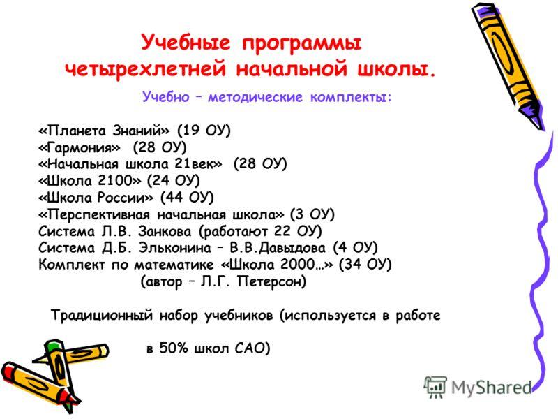 Учебные программы четырехлетней начальной школы. Учебно – методические комплекты: «Планета Знаний» (19 ОУ) «Гармония» (28 ОУ) «Начальная школа 21век» (28 ОУ) «Школа 2100» (24 ОУ) «Школа России» (44 ОУ) «Перспективная начальная школа» (3 ОУ) Система Л