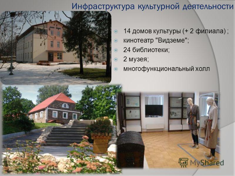 Инфраструктура культурной деятельности 14 домов культуры (+ 2 филиала) ; кинотеатр Видземе; 24 библиотеки; 2 музея; многофункциональный холл