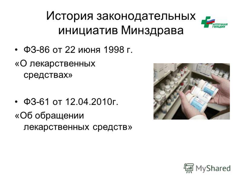 История законодательных инициатив Минздрава ФЗ-86 от 22 июня 1998 г. «О лекарственных средствах» ФЗ-61 от 12.04.2010г. «Об обращении лекарственных средств»
