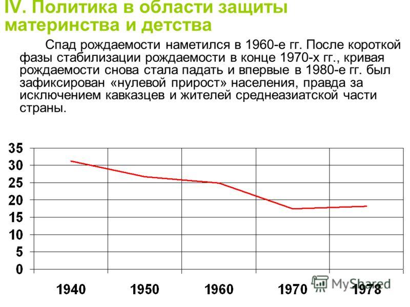 IV. Политика в области защиты материнства и детства Спад рождаемости наметился в 1960-е гг. После короткой фазы стабилизации рождаемости в конце 1970-х гг., кривая рождаемости снова стала падать и впервые в 1980-е гг. был зафиксирован «нулевой прирос