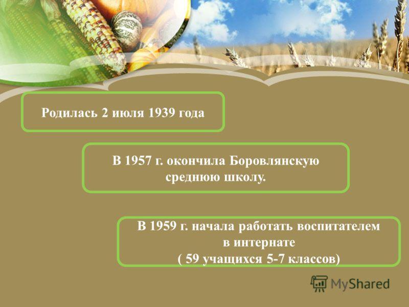 Родилась 2 июля 1939 года В 1957 г. окончила Боровлянскую среднюю школу. В 1959 г. начала работать воспитателем в интернате ( 59 учащихся 5-7 классов)
