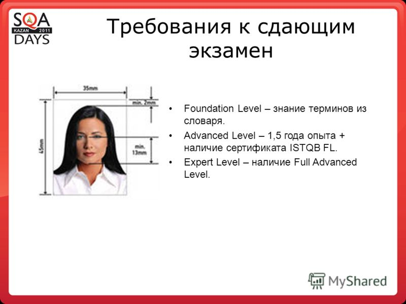 Требования к сдающим экзамен Foundation Level – знание терминов из словаря. Advanced Level – 1,5 года опыта + наличие сертификата ISTQB FL. Expert Level – наличие Full Advanced Level.