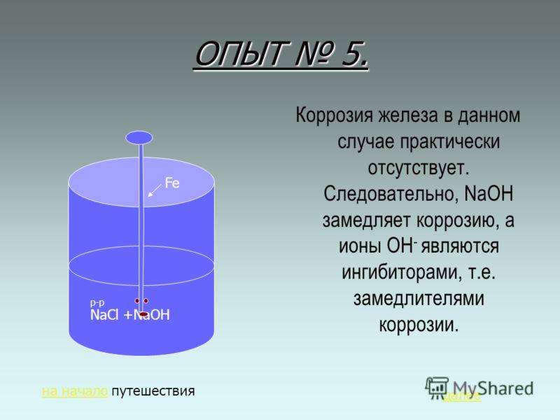 ОПЫТ 5. Коррозия железа в данном случае практически отсутствует. Следовательно, NaOH замедляет коррозию, а ионы ОН - являются ингибиторами, т.е. замедлителями коррозии. р-р NaCl +NaOH Fe на началона начало путешествия далее