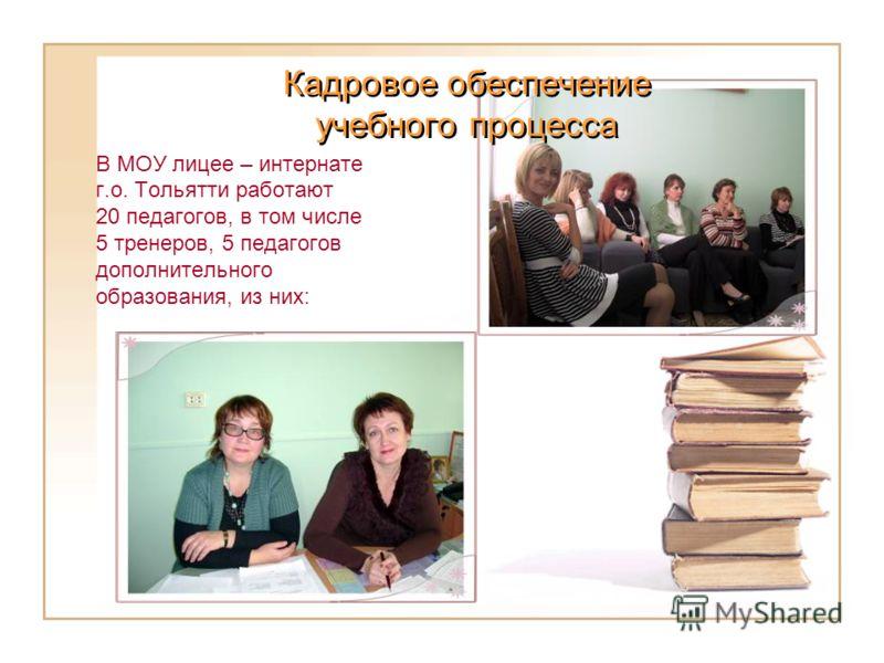 В МОУ лицее – интернате г.о. Тольятти работают 20 педагогов, в том числе 5 тренеров, 5 педагогов дополнительного образования, из них: Кадровое обеспечение учебного процесса