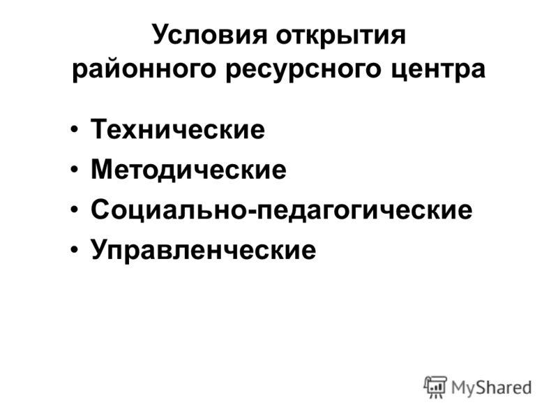 Условия открытия районного ресурсного центра Технические Методические Социально-педагогические Управленческие