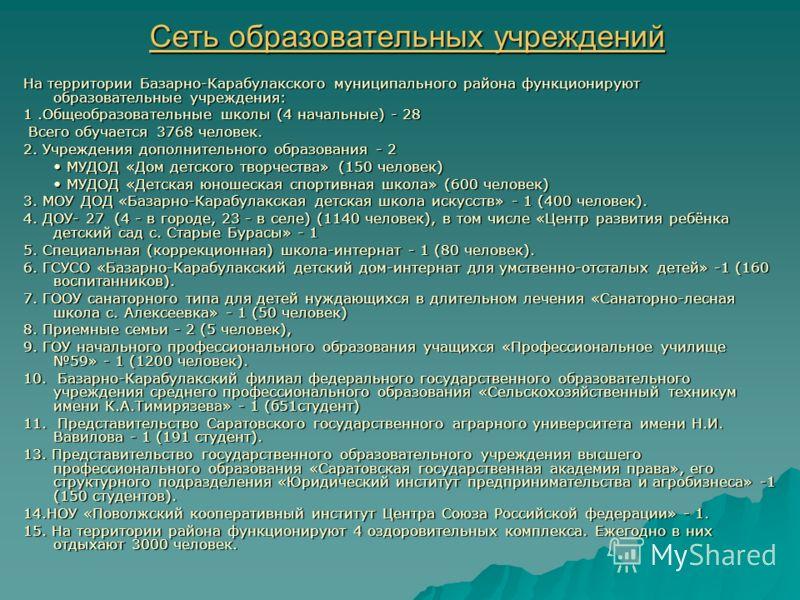 Сеть образовательных учреждений На территории Базарно-Карабулакского муниципального района функционируют образовательные учреждения: 1.Общеобразовательные школы (4 начальные) - 28 Всего обучается 3768 человек. Всего обучается 3768 человек. 2. Учрежде