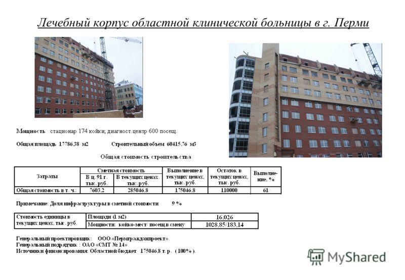 Лечебный корпус областной клинической больницы в г. Перми