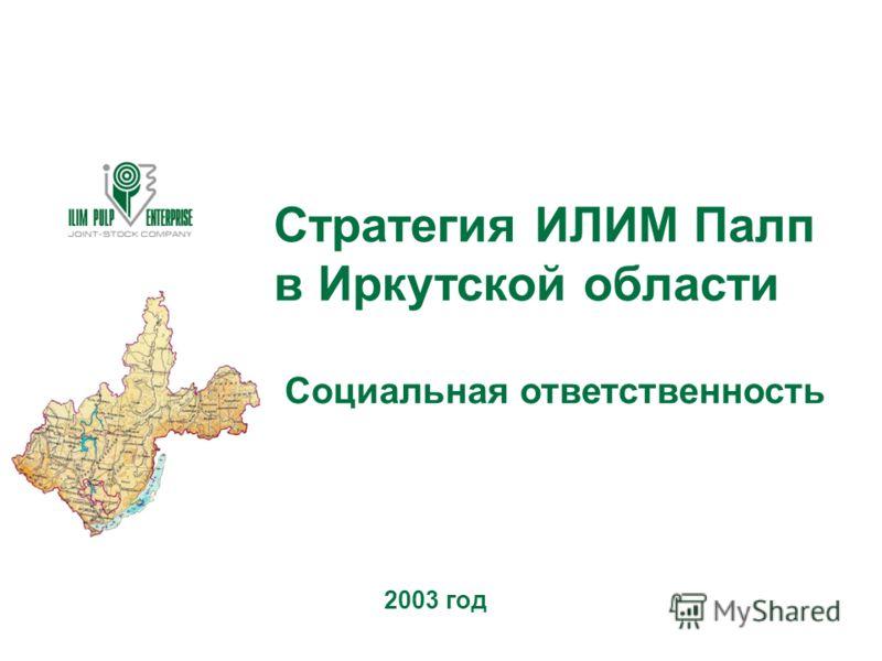 Стратегия ИЛИМ Палп в Иркутской области Социальная ответственность 2003 год