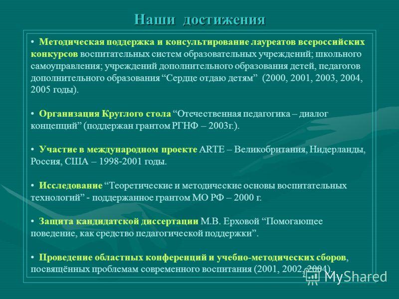 Наши достижения Методическая поддержка и консультирование лауреатов всероссийских конкурсов воспитательных систем образовательных учреждений; школьного самоуправления; учреждений дополнительного образования детей, педагогов дополнительного образовани