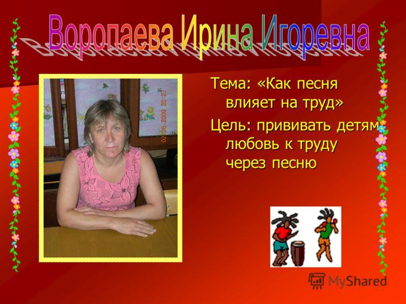 Тема: «Как песня влияет на труд» Цель: прививать детям любовь к труду через песню
