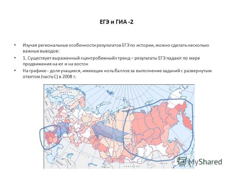 ЕГЭ и ГИА -2 Изучая региональные особенности результатов ЕГЭ по истории, можно сделать несколько важных выводов: 1. Существует выраженный «центробежный» тренд – результаты ЕГЭ падают по мере продвижения на юг и на восток На графике - доля учащихся, и