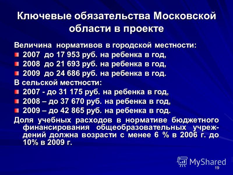 19 Ключевые обязательства Московской области в проекте Величина нормативов в городской местности: 2007 до 17 953 руб. на ребенка в год, 2008 до 21 693 руб. на ребенка в год, 2009 до 24 686 руб. на ребенка в год. В сельской местности: 2007 - до 31 175