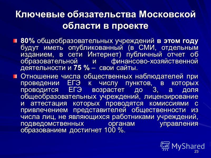 23 Ключевые обязательства Московской области в проекте 80% общеобразовательных учреждений в этом году будут иметь опубликованный (в СМИ, отдельным изданием, в сети Интернет) публичный отчет об образовательной и финансово-хозяйственной деятельности и