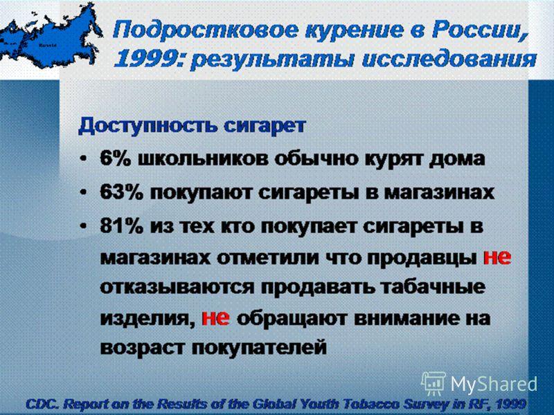 Подростковое курение в России, 1999: результаты исследования Доступность сигарет 6% школьников обычно курят дома 63% покупают сигареты в магазинах 81% из тех кто покупает сигареты в магазинах отметили что продавцы не отказываются продавать табачные и
