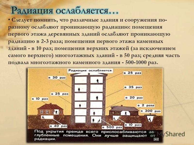 Следует помнить, что различные здания и сооружения по- разному ослабляют проникающую радиацию: помещения первого этажа деревянных зданий ослабляют проникающую радиацию в 2-3 раза; помещения первого этажа каменных зданий - в 10 раз; помещения верхних