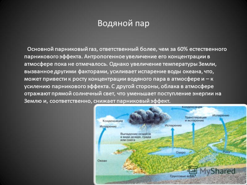 Водяной пар Основной парниковый газ, ответственный более, чем за 60% естественного парникового эффекта. Антропогенное увеличение его концентрации в атмосфере пока не отмечалось. Однако увеличение температуры Земли, вызванное другими факторами, усилив