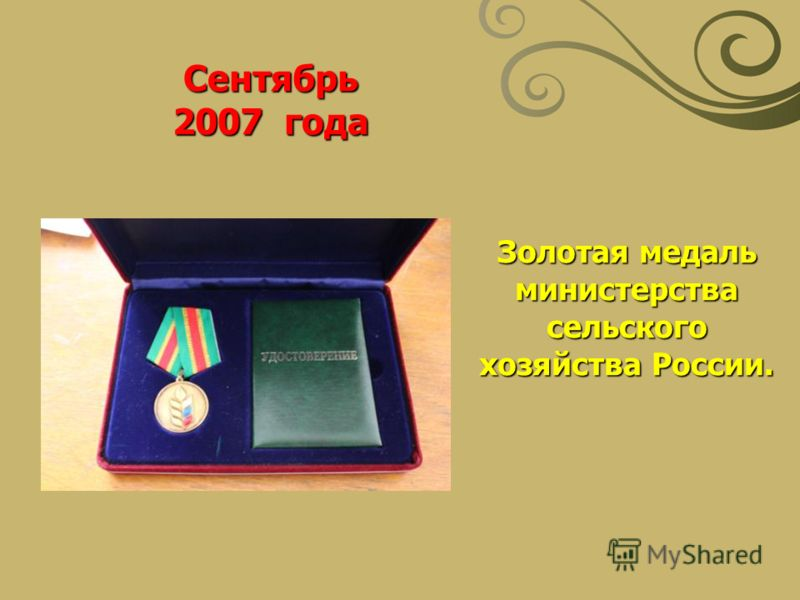 Золотая медаль министерства сельского хозяйства России. Сентябрь 2007 года