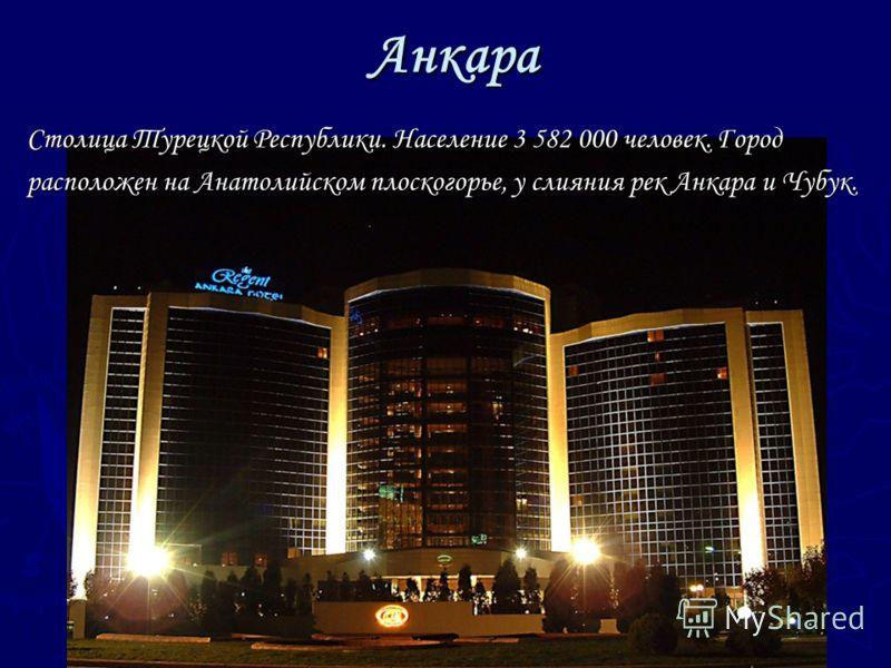 Анкара Столица Турецкой Республики. Население 3 582 000 человек. Город расположен на Анатолийском плоскогорье, у слияния рек Анкара и Чубук.