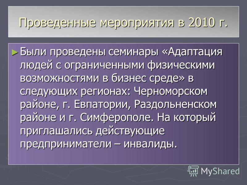 Проведенные мероприятия в 2010 г. Были проведены семинары «Адаптация людей с ограниченными физическими возможностями в бизнес среде» в следующих регионах: Черноморском районе, г. Евпатории, Раздольненском районе и г. Симферополе. На который приглашал