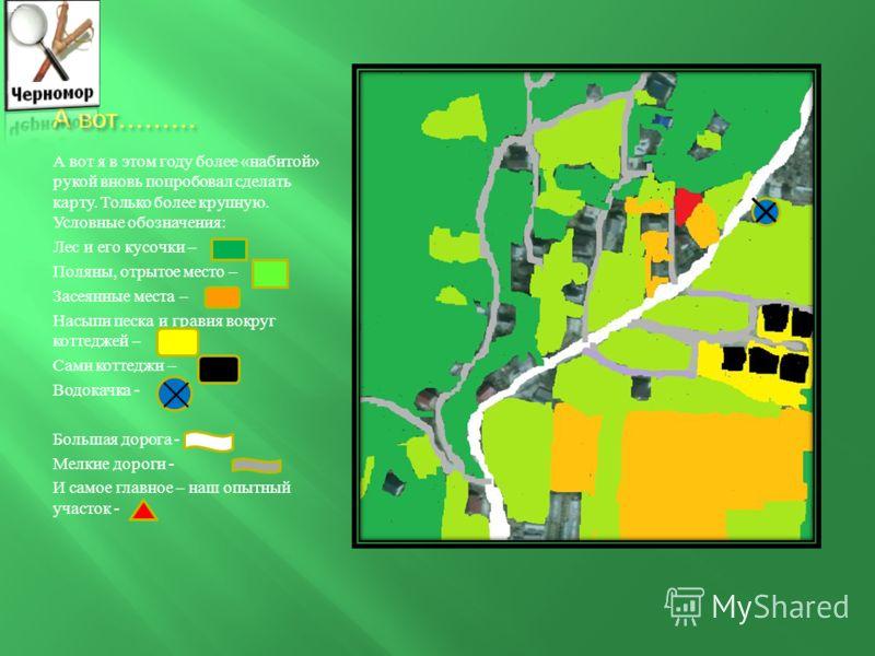 Наш план в прошлом году. В прошлом году мы делали план большого куска окружающей местности, потому что пытались обозначить на нем реку, не обозначенную ни на одной карте. 1. Синяя линия – это река. У нас две реки – Мзымта и Херота 2. Белая линия – эт