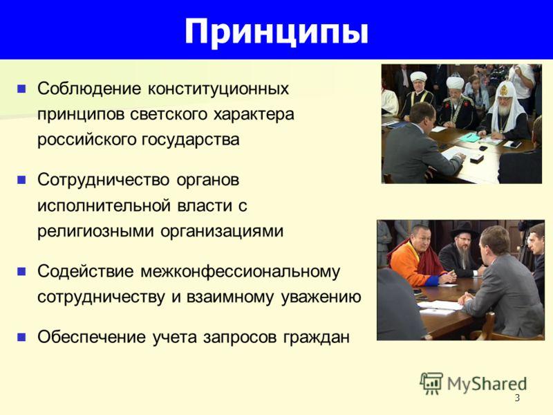 3 Принципы Соблюдение конституционных принципов светского характера российского государства Сотрудничество органов исполнительной власти с религиозными организациями Содействие межконфессиональному сотрудничеству и взаимному уважению Обеспечение учет