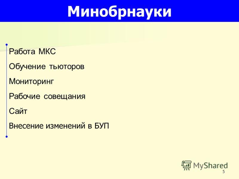 5 Минобрнауки Работа МКС Обучение тьюторов Мониторинг Рабочие совещания Сайт Внесение изменений в БУП