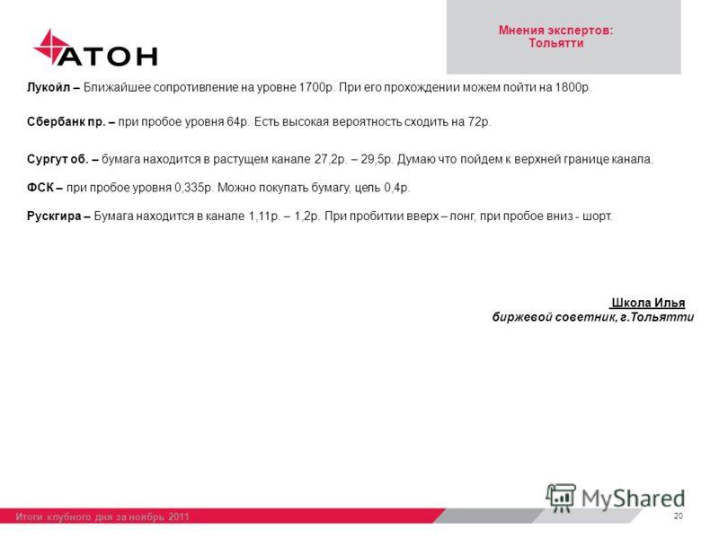 Мнения экспертов: Тольятти 20 Итоги клубного дня за ноябрь 2011 Лукойл – Ближайшее сопротивление на уровне 1700р. При его прохождении можем пойти на 1800р. Сбербанк пр. – при пробое уровня 64р. Есть высокая вероятность сходить на 72р. Сургут об. – бу