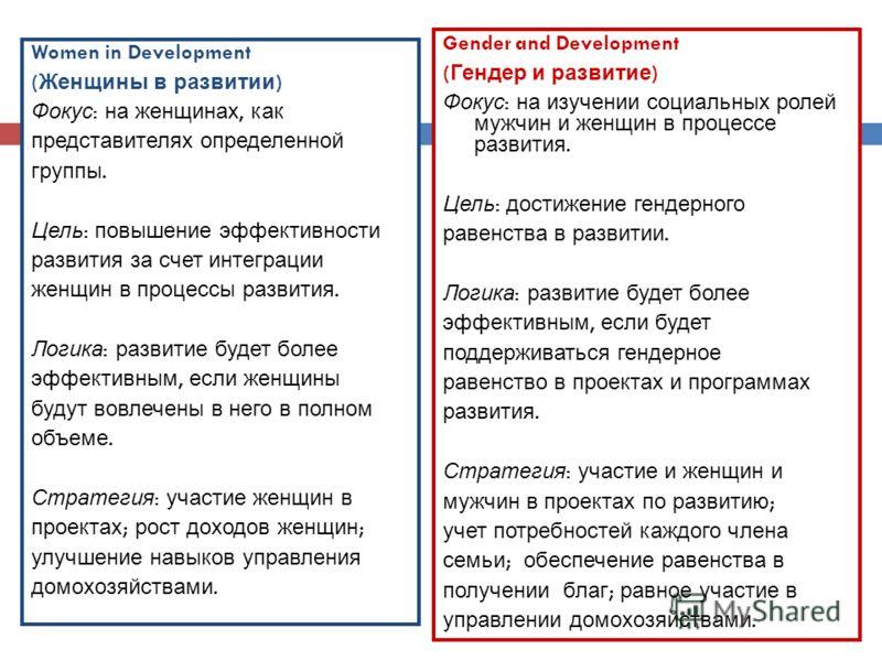 Women in Development ( Женщины в развитии ) Фокус : на женщинах, как представителях определенной группы. Цель : повышение эффективности развития за счет интеграции женщин в процессы развития. Логика : развитие будет более эффективным, если женщины бу