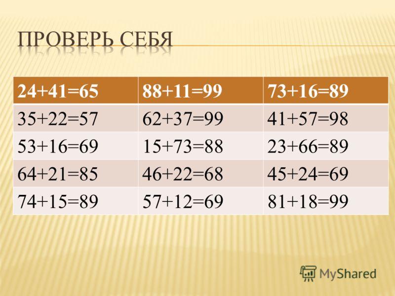 24+41=6588+11=9973+16=89 35+22=5762+37=9941+57=98 53+16=6915+73=8823+66=89 64+21=8546+22=6845+24=69 74+15=8957+12=6981+18=99