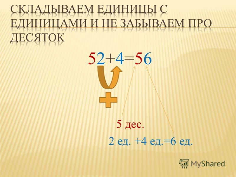 52+4=56 5 дес. 2 ед. +4 ед.=6 ед.